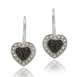 DB Designs Sterling Silver Black Diamond Accent Heart Dangle Earrings
