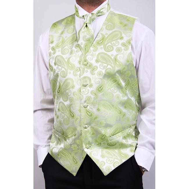 Ferrecci Men's Lime Four-piece Vest Set - Thumbnail 0