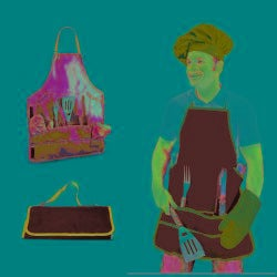 Picnic Time Barbecue Black Apron and Tool Set