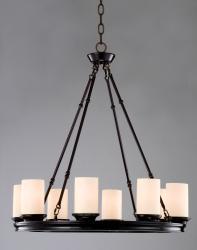 Indoor 8-light Mahogany Bronze Wood Base Chandelier - Thumbnail 1