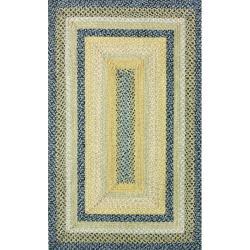 Thumbnail 1, nuLOOM Handmade Cotton Fabric Braided Blue Cottage Rug (5' x 8').