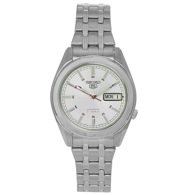 Seiko Men's Stainless Steel 21-Jewel Automatic Silver Dial Watch