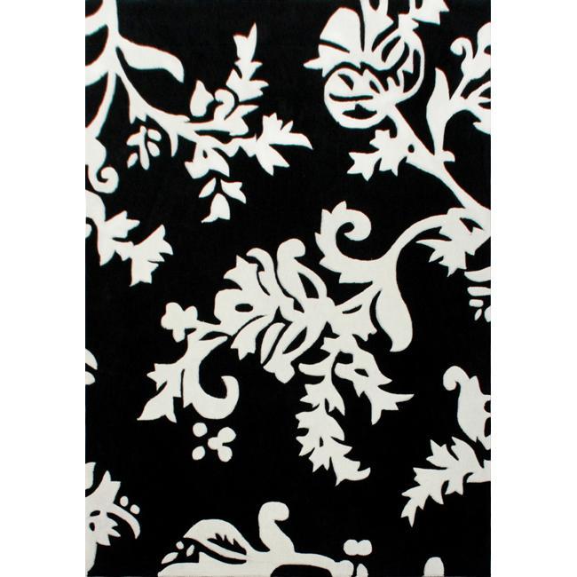 nuLOOM Handmade Pino Peonies Black Rug (3'6 x 5'6)