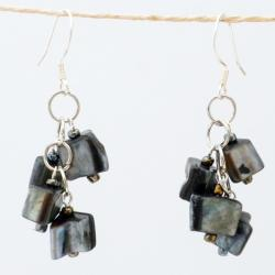 Silver Grey Mother of Pearl Cluster Earrings (China)