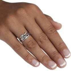Journee Collection Sterling Silver Three Dolphin Ring