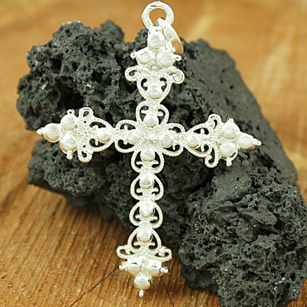 Sterling Silver Vintage Filigree Cross Pendant (Mexico)