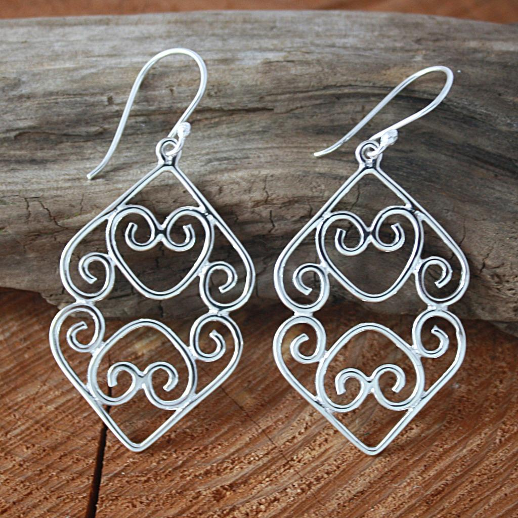 Sterling Silver Joined Spiral Hearts Dangle Earrings (Mexico)