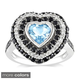 Miadora Sterling Silver 2 1/2ct TGW Gemstone and Diamond Accent Heart Ring (G-H, I2-I3)