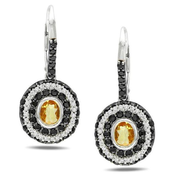 Miadora Sterling Silver Citrine, Spinel and 1/3ct TDW Diamond Earrings (G-H, I2-3)