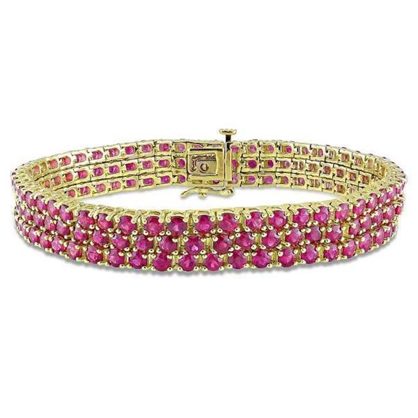 Miadora Signature Collection 10k Yellow Gold Pink Sapphire 3-row Link Bracelet