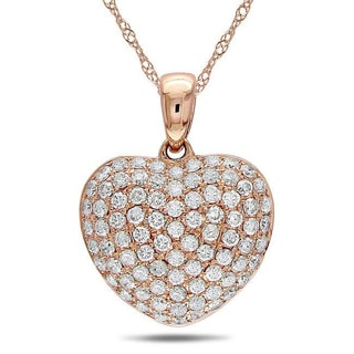 Miadora 14k Gold 1/2ct TDW Diamond Heart Necklace