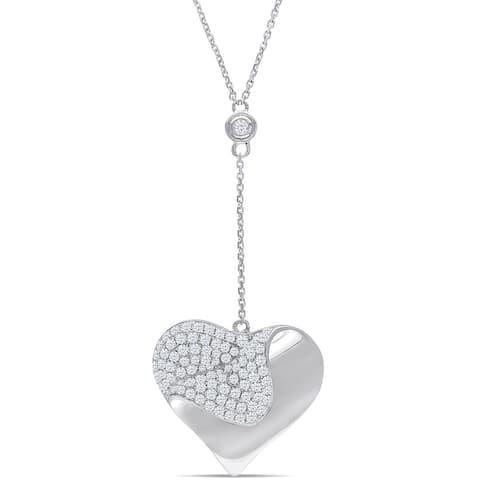 Miadora 14k White Gold 1ct TDW Diamond Heart Necklace - White Gold