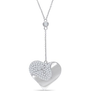 Miadora Signature Collection 14k White Gold 1ct TDW Diamond Heart Necklace (G-H, SI1-SI2)