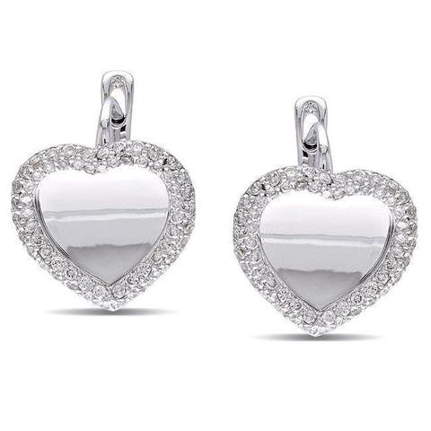 Miadora Signature Collection 18k White Gold 4/5ct TDW Diamond Heart Earrings