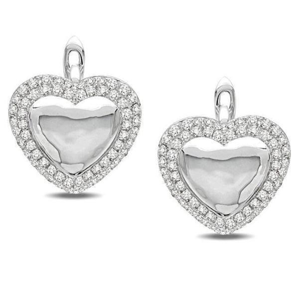 Miadora Signature Collection 14k White Gold 4/5ct TDW Diamond Heart Earrings