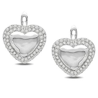 Miadora Signature Collection 14k White Gold 4/5ct TDW Diamond Heart Earrings (G-H, SI1-SI2)