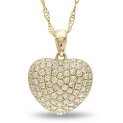 Miadora 14k Yellow Gold 1/2ct TDW Diamond Heart Necklace