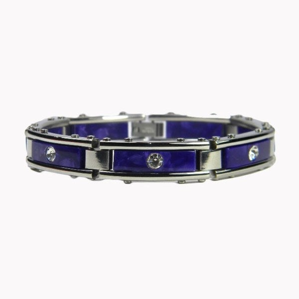 Stainless Steel Purple Marble and Cubic Zirconia Link Bracelet