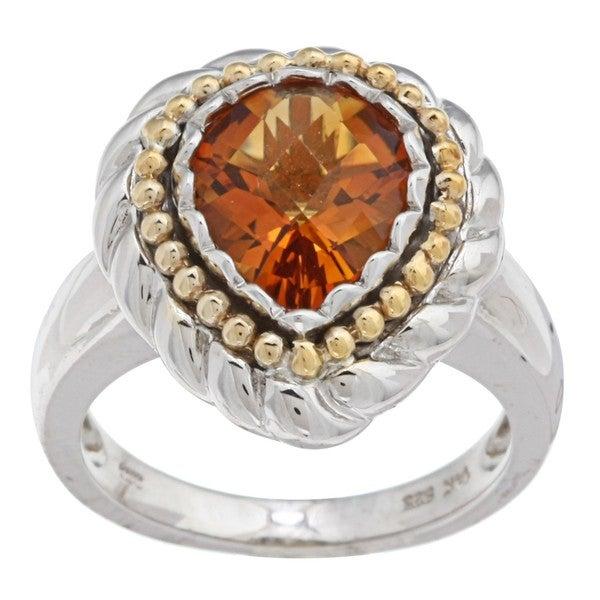 Oro Leoni 14k Gold and Silver Citrine Ring  (Size 7)