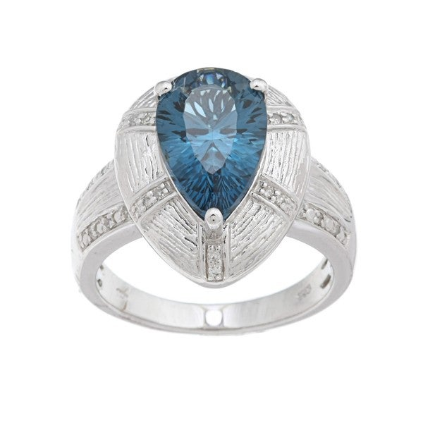 Oro Leoni Sterling Silver Blue Topaz and Diamond Accent Ring  (Size 7)
