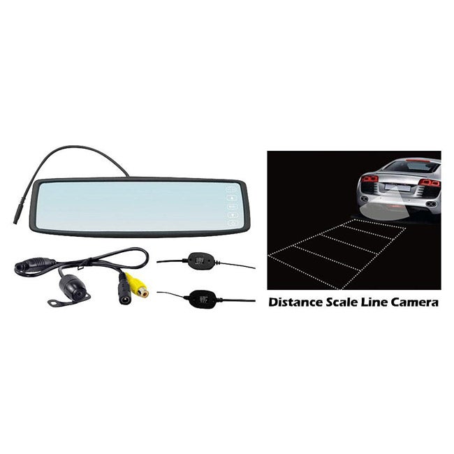 Pyle Rearview Mirror Wireless Back-Up Camera System w/ 4.3'' TFT Touch Screen & Universal Mount Low Lux Camera w/ Distance Scale