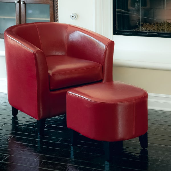 Shop Preston Red Club Chair And Ottoman Combo By