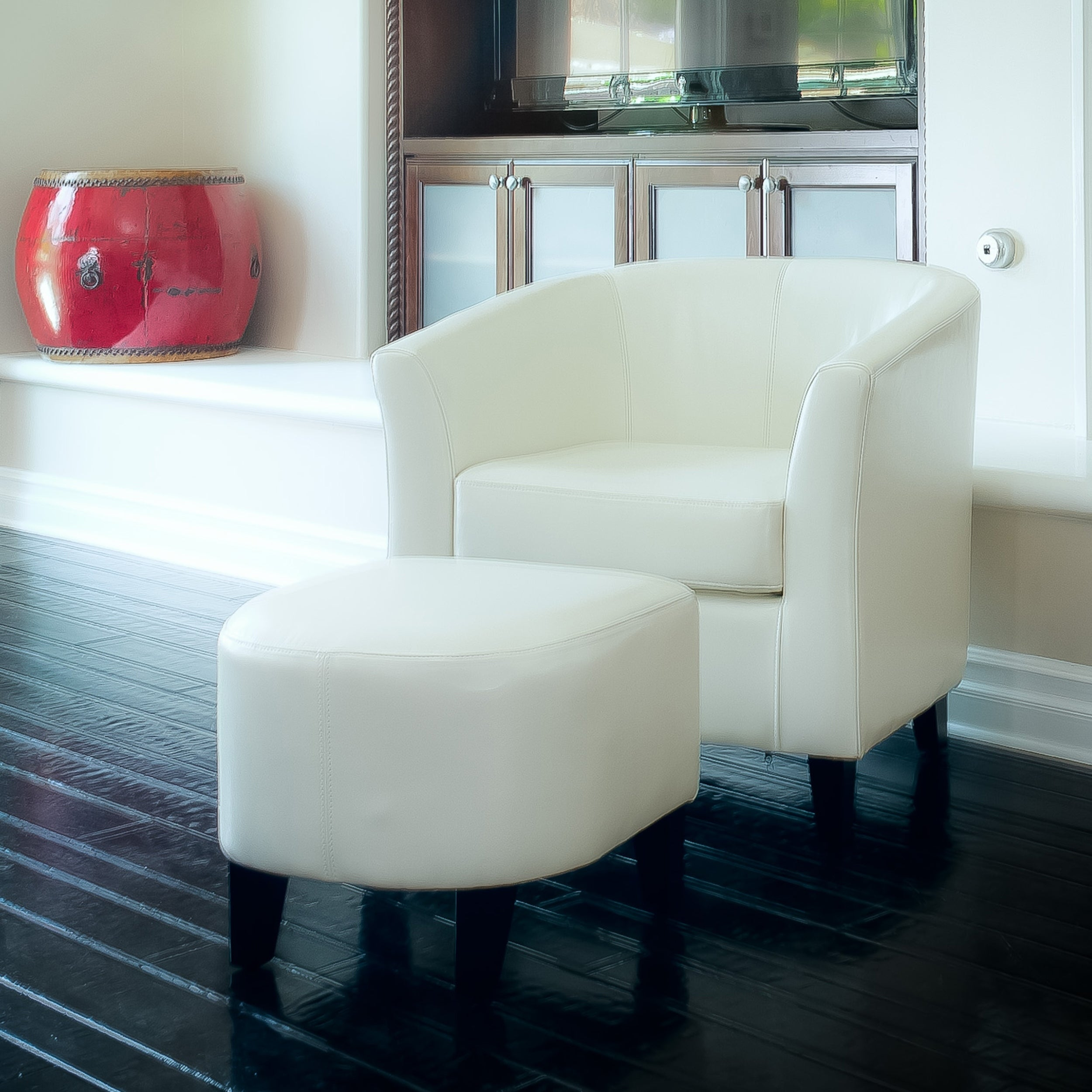Preston Ivory Club Chair and Ottoman Combo by Christopher...