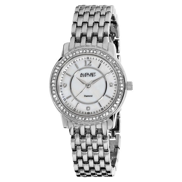 August Steiner Women's Dazzling Diamond Swiss Quartz Silver-Tone Bracelet Watch