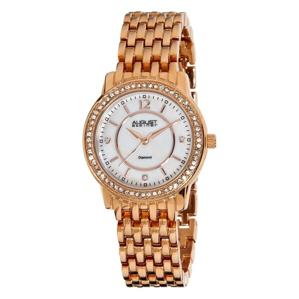 August Steiner Women's Water-Resistant Dazzling Diamond Rose-Tone Bracelet Watch