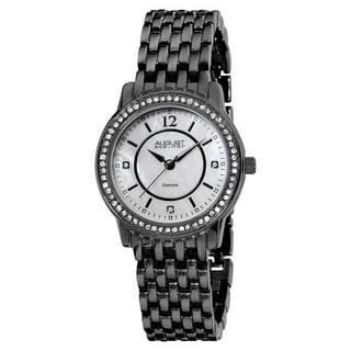 August Steiner Women's Swiss-Quartz Dazzling Diamond Black Bracelet Watch