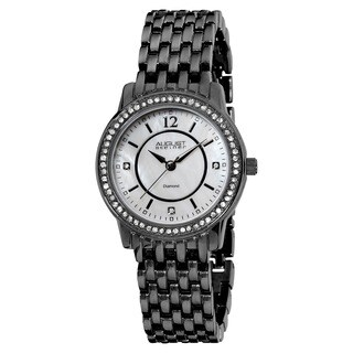 August Steiner Women's Swiss-Quartz Dazzling Diamond Black Bracelet Watch
