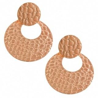 Fremada 14k Rose Gold over Stainless Steel Hammered Disc Dangle Earrings
