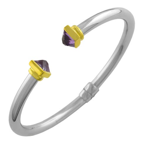 Fremada 18k Yellow Gold over Stainless Steel Amethyst Cuff Bracelet