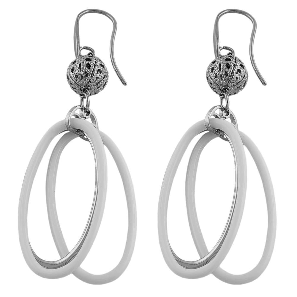 Fremada Stainless Steel White Resin Oval Dangle Earrings