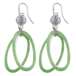Fremada Stainless Steel Green Resin Oval Dangle Earrings