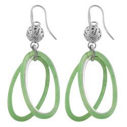 Fremada Stainless Steel Green Resin Oval Dangle Earrings