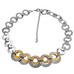 Fremada 14k Gold over Stainless Steel Graduated Flat Rolo Necklace