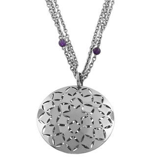 Fremada Stainless Steel Amethyst Bead Floral Necklace