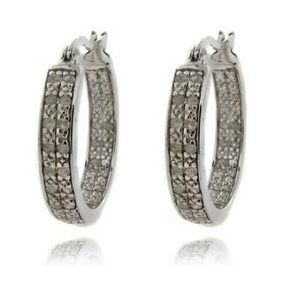 Finesque Sterling Silver 1/2ct TDW Diamond Hoop Earrings