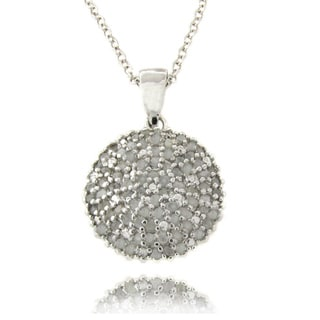 Finesque Sterling Silver 1ct TDW Diamond Dome Necklace