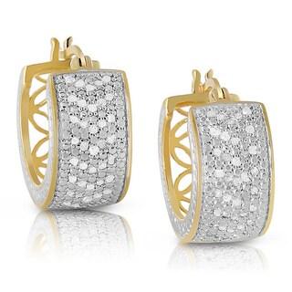 Finesque Sterling Silver 1ct TDW Diamond Hoop Earrings