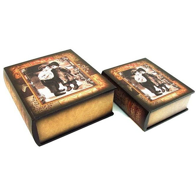 Secret Jewelry & Keepsake Book Box with Colonial Children (Set of 2)