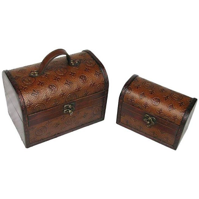 Travel Jewelry & Keepsake Box in Aged Mahogany & Brown Leather (Set of 2)