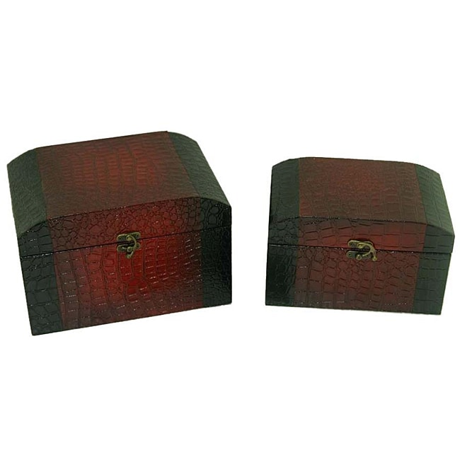 Faux Leather Jewelry & Keepsake Box in Red & Black (Set of 2)
