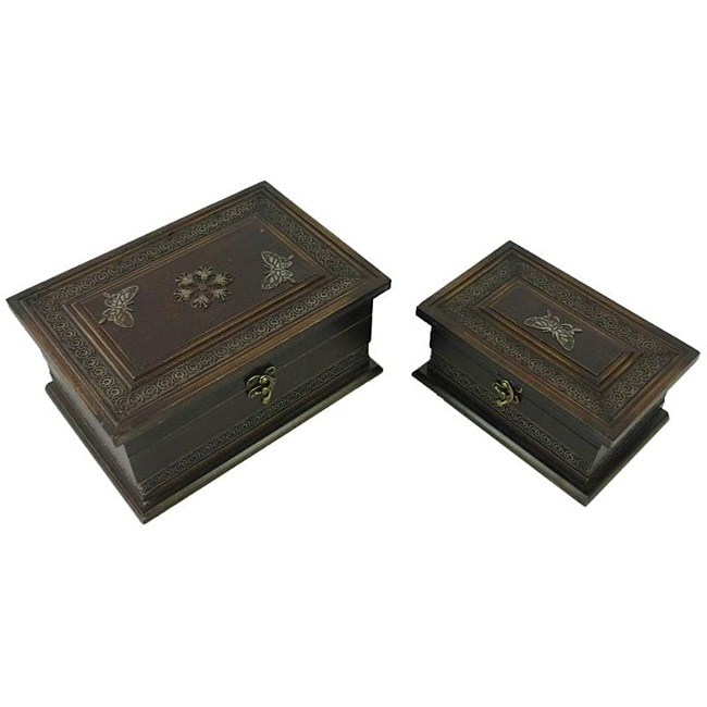 Classic Jewelry & Keepsake Box in Mahogany & Brown Butterflies (Set of 2) - Thumbnail 0