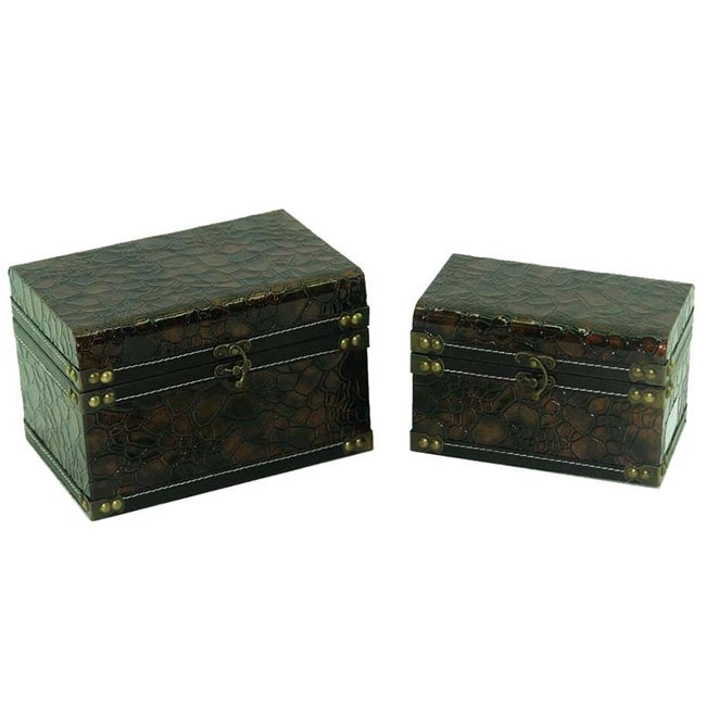 Faux Leather Jewelry & Keepsake Box in Copper & Black (Set of 2) - Thumbnail 0
