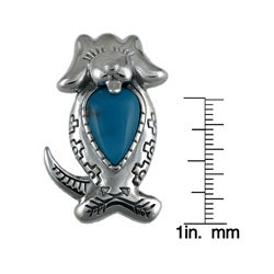 Southwest Moon Sterling Silver Turquoise Dog Brooch