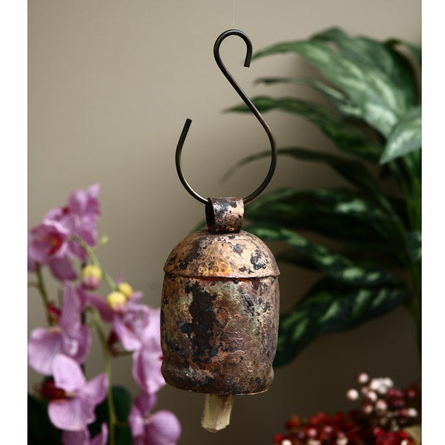 Moksha Imports Handmade Copper/Brass Nana Bells with Wood...