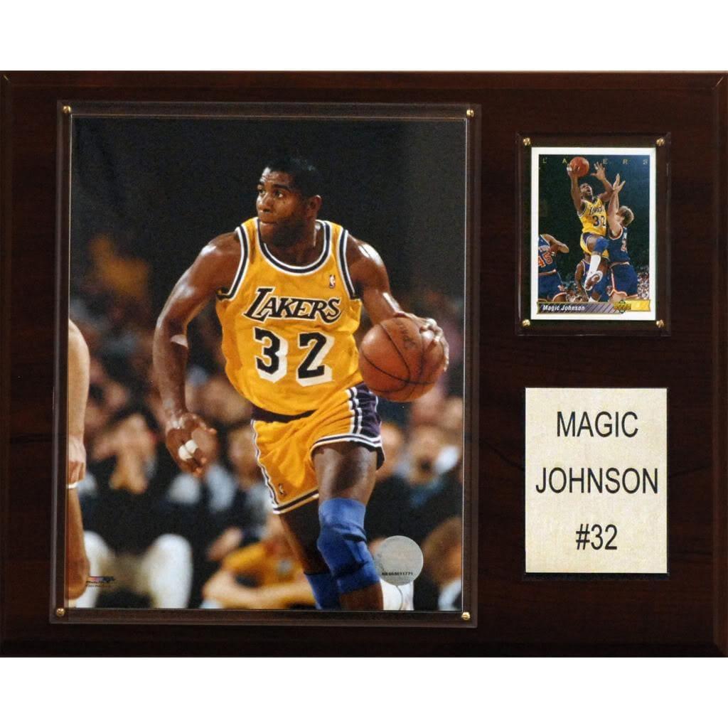 Magic Johnson 12x15 Cherry Wood Player Plaque