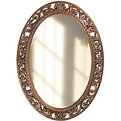 Susie Antique Bronze Resin Scrollwork Round Mirror